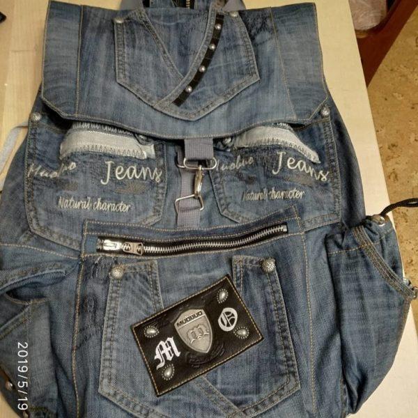 Оригинальный рюкзак из старых джинсов